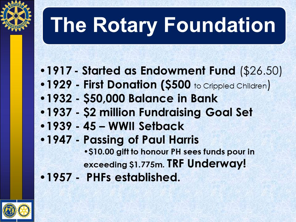 Contributing to the Foundation Clubs Annual Fund Polio Plus Permanent Fund Six Areas of Focus Disaster Recovery Matching Grants Personal EREY Centurions Paul Harris Fellow Paul Harris Society Major Donor Arch Klumph Society All except Permanent Fund & Disaster Recovery accrue PHF Recognition points All are Tax Deductable except Permanent Fund & Disaster Recovery if given via TARFT