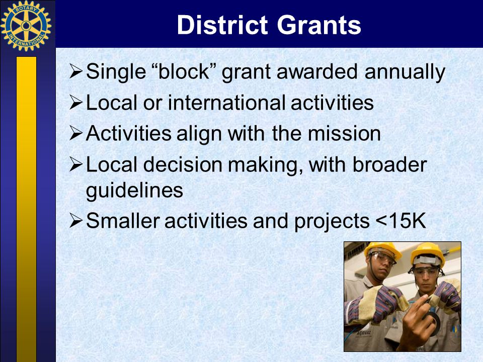 Global Grants  Long-term projects  Sustainable outcomes  Larger grant awards aligned with Areas of Focus (over 30K)  World Fund match  100% with DDF  50% Cash Contributions  Primary Host Sponsor and International Sponsor