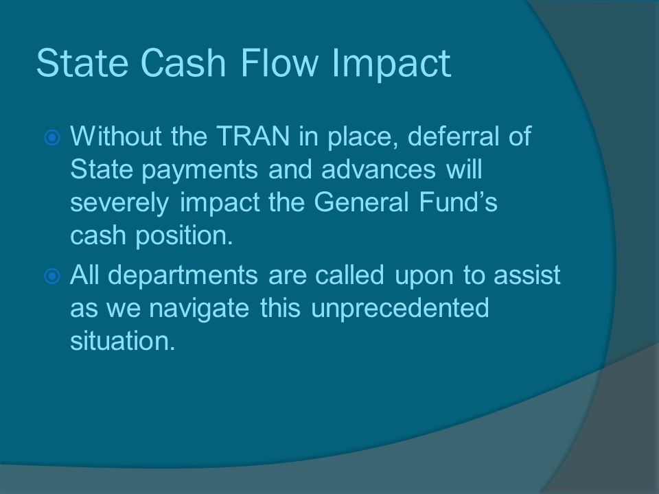 State Cash Flow Impact  Without the TRAN in place, deferral of State payments and advances will severely impact the General Fund's cash position.