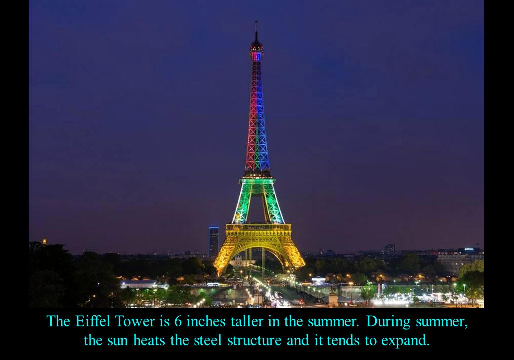 Here's the Eiffel tower in numbers… It employs 300 workers, combines 18,038 pieces of wrought iron, fastened with 2,5 million rivets, weighs 10,000 tons, has a height of 984,25 ft.