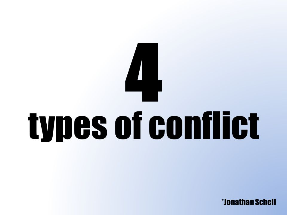 4 types of conflict *Jonathan Schell