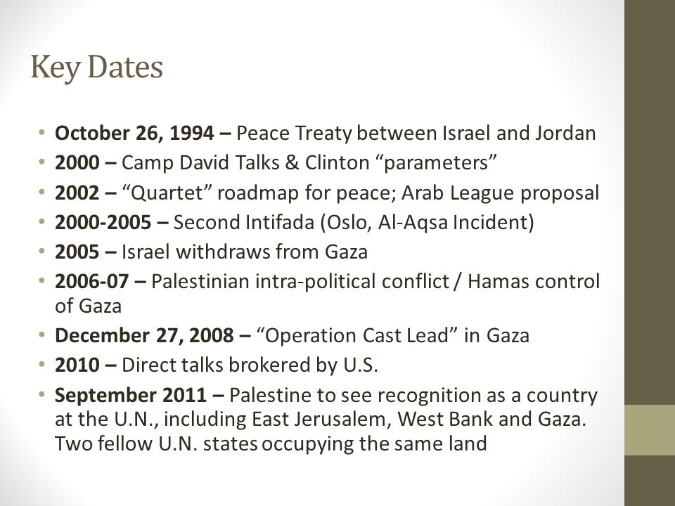 "Key Dates October 26, 1994 – Peace Treaty between Israel and Jordan 2000 – Camp David Talks & Clinton ""parameters"" 2002 – ""Quartet"" roadmap for peace;"