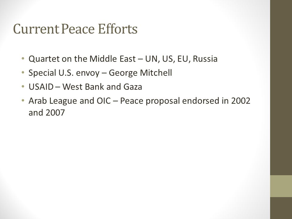 Current Peace Efforts Quartet on the Middle East – UN, US, EU, Russia Special U.S. envoy – George Mitchell USAID – West Bank and Gaza Arab League and