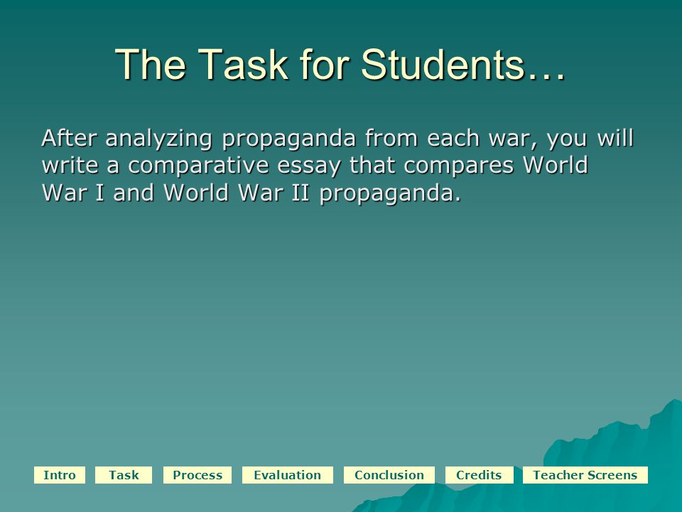 IntroTaskProcessEvaluationConclusionCreditsTeacher Screens The Task for Students… After analyzing propaganda from each war, you will write a comparative essay that compares World War I and World War II propaganda.