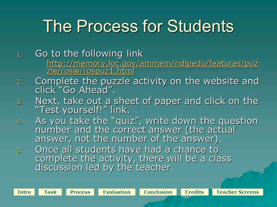 IntroTaskProcessEvaluationConclusionCreditsTeacher Screens The Process for Students 1.
