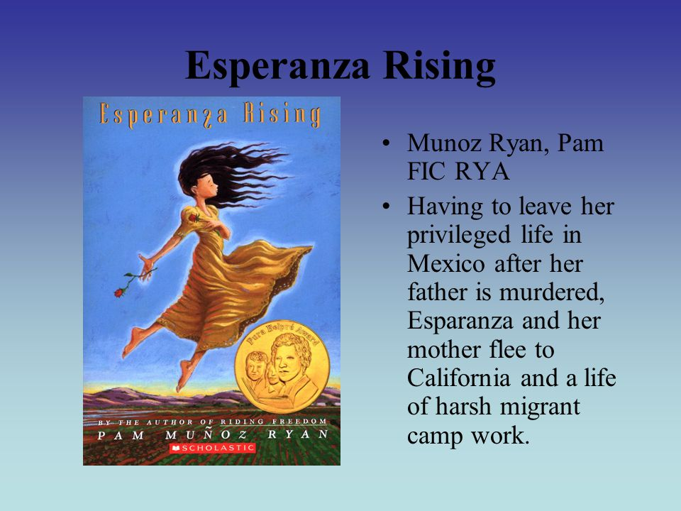 Esperanza Rising Munoz Ryan, Pam FIC RYA Having to leave her privileged life in Mexico after her father is murdered, Esparanza and her mother flee to California and a life of harsh migrant camp work.