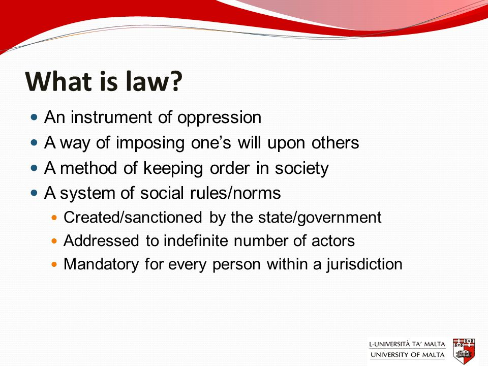 Forms of regulation Law (rules created and/or sanctioned by state) Other social normative systems (custom, usage, (N)etiqette, morals, ethics, religion, etc.) Self-regulation Private regulation Co-regulation Public-private partnership (PPP) Standardization (Lessig: code is law) Laissez-faire