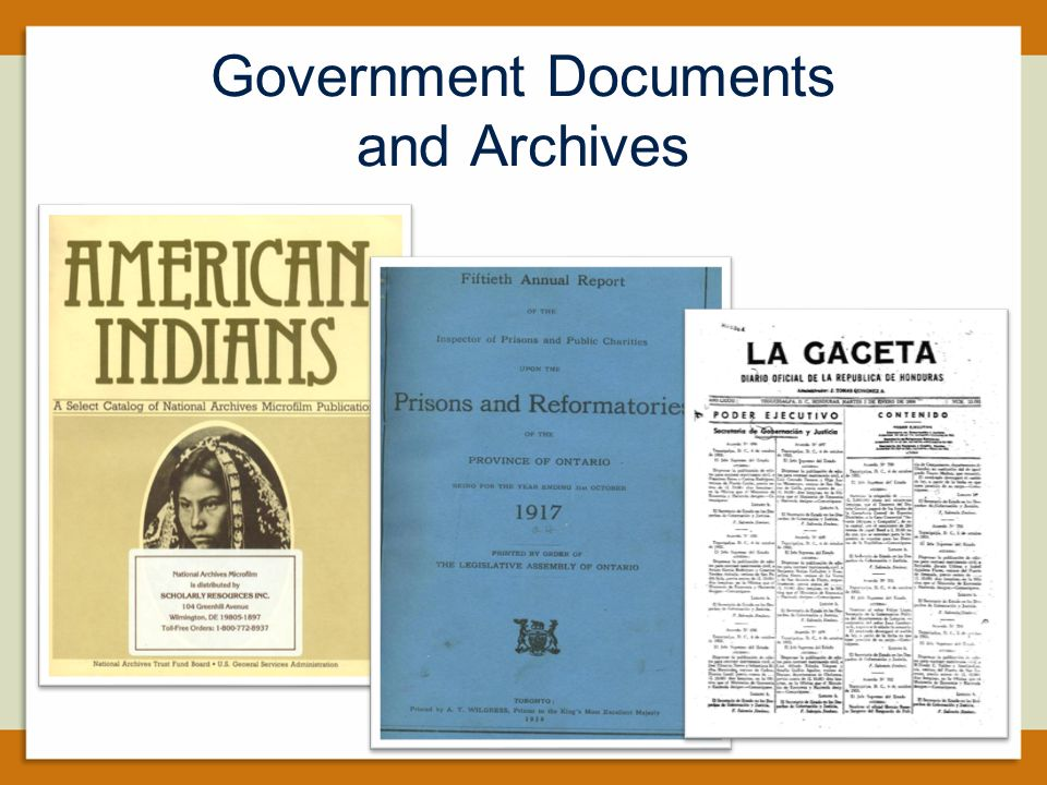 Government Documents and Archives