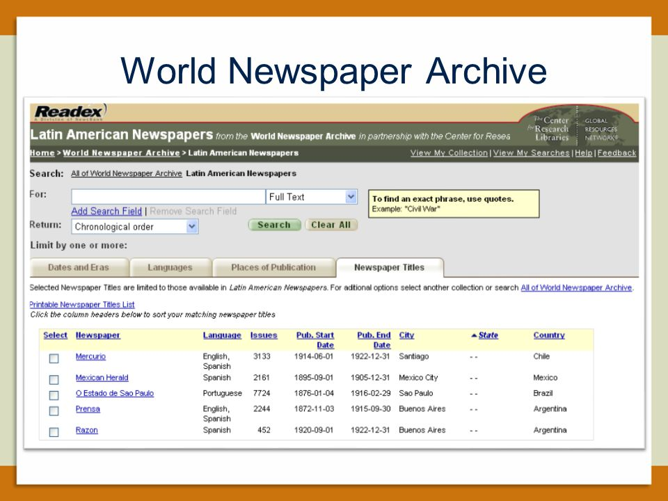 World Newspaper Archive