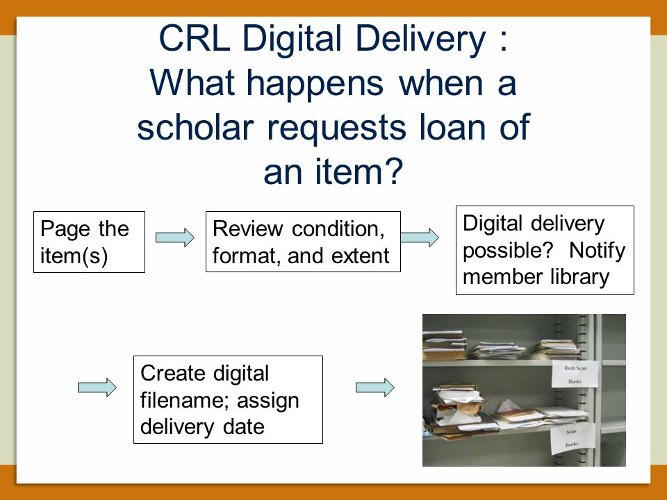 Page the item(s) Review condition, format, and extent Digital delivery possible.