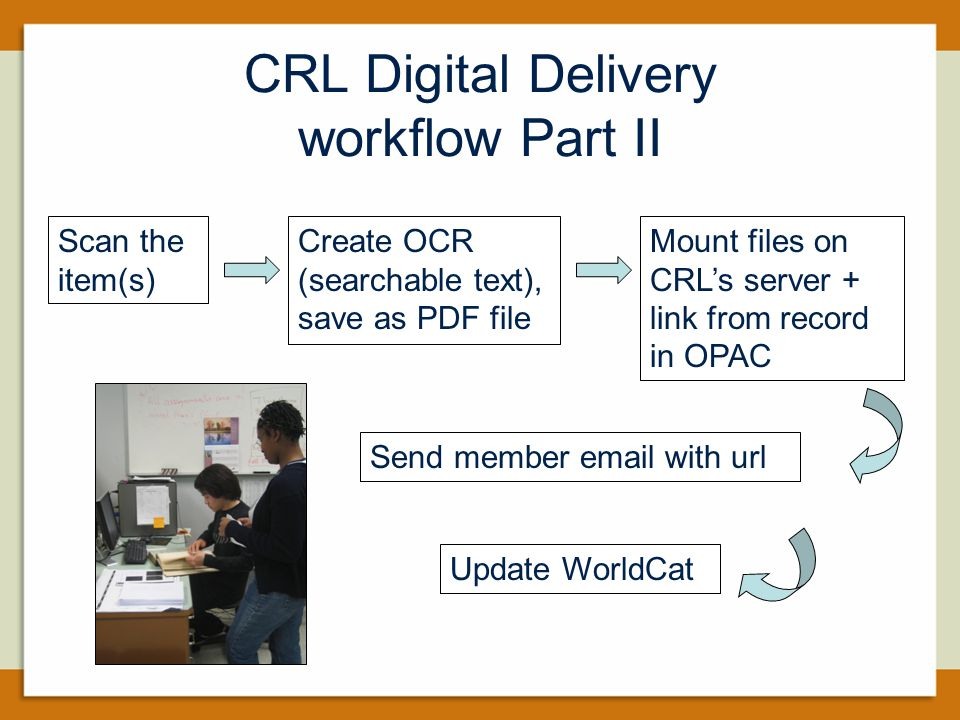 CRL Digital Delivery workflow Part II Scan the item(s) Create OCR (searchable text), save as PDF file Mount files on CRL's server + link from record in OPAC Send member email with url Update WorldCat
