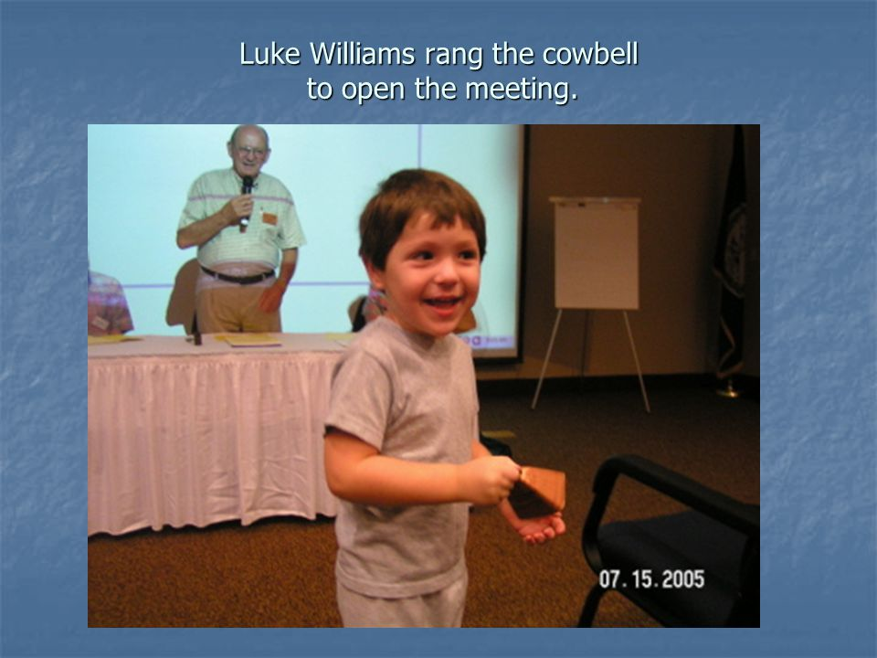Luke Williams rang the cowbell to open the meeting.