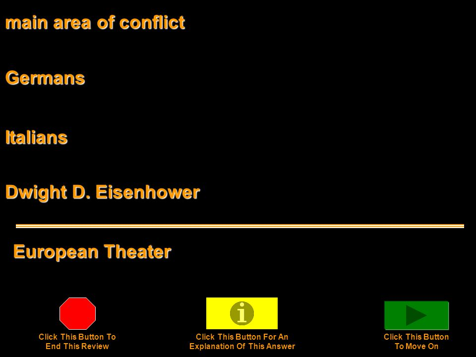 main area of conflict European Theater Germans Italians Dwight D.