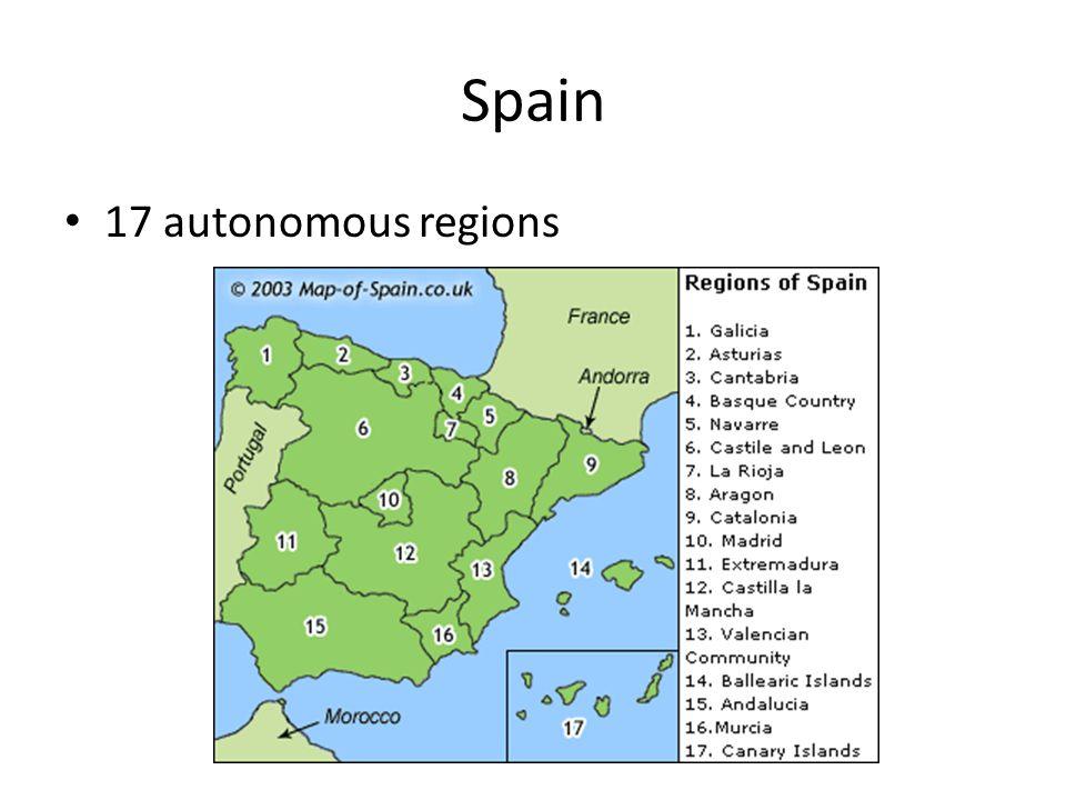 Spain 17 autonomous regions