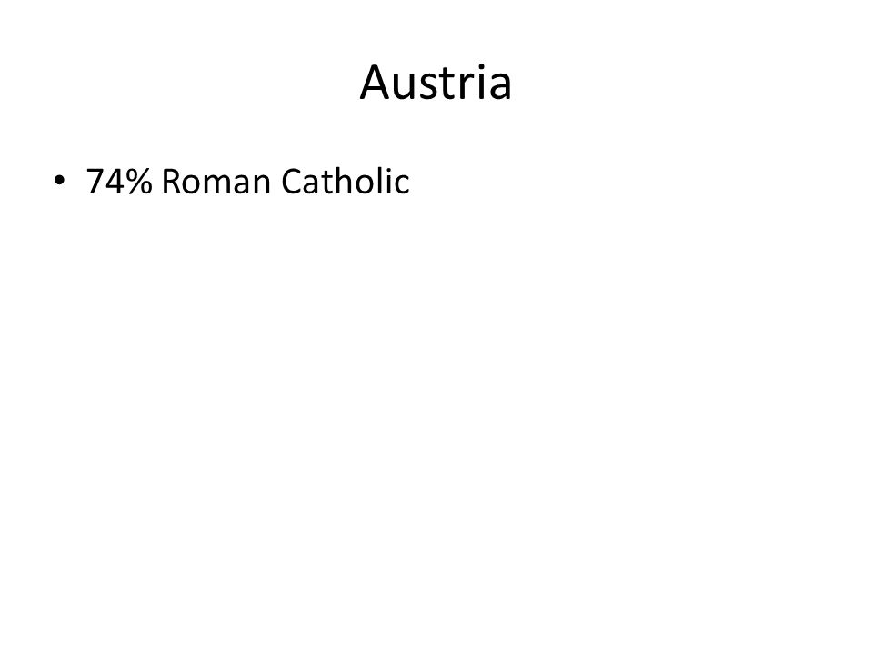 Austria 74% Roman Catholic