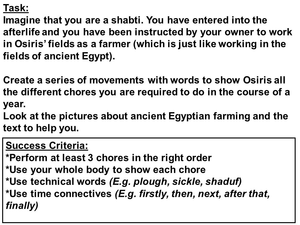 Task: Imagine that you are a shabti. You have entered into the afterlife and you have been instructed by your owner to work in Osiris' fields as a far