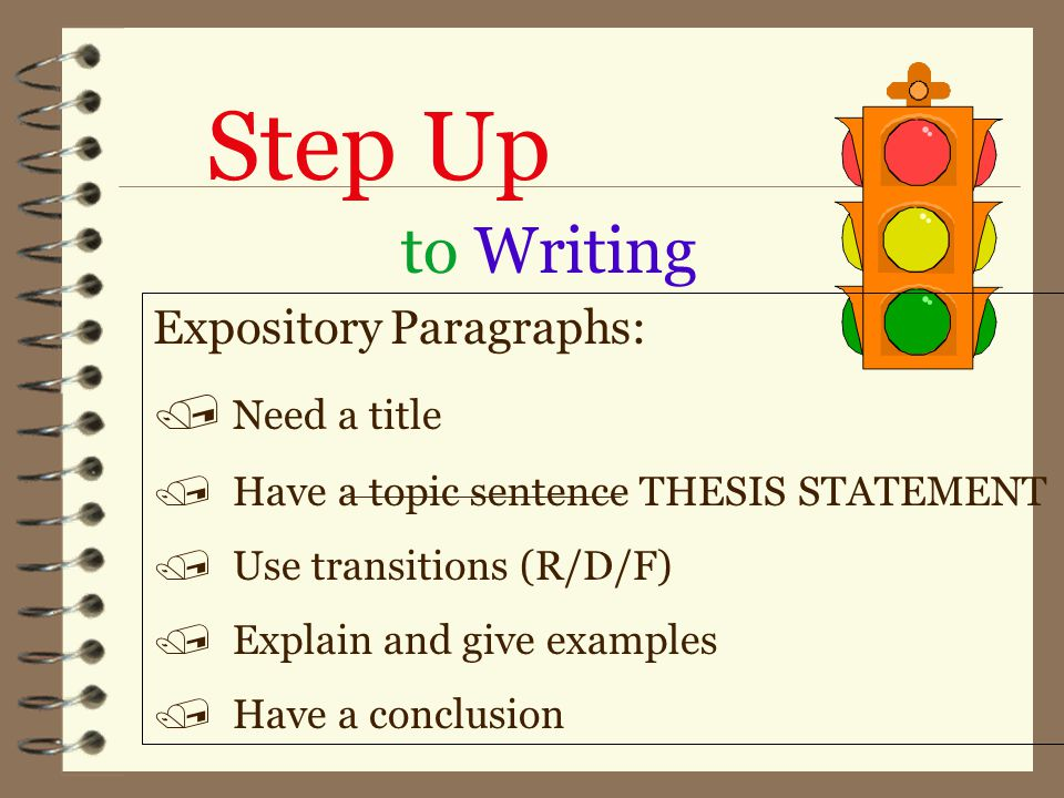 Step Up to Writing Expository Paragraphs: / Need a title / Have a topic sentence THESIS STATEMENT / Use transitions (R/D/F) / Explain and give examples / Have a conclusion