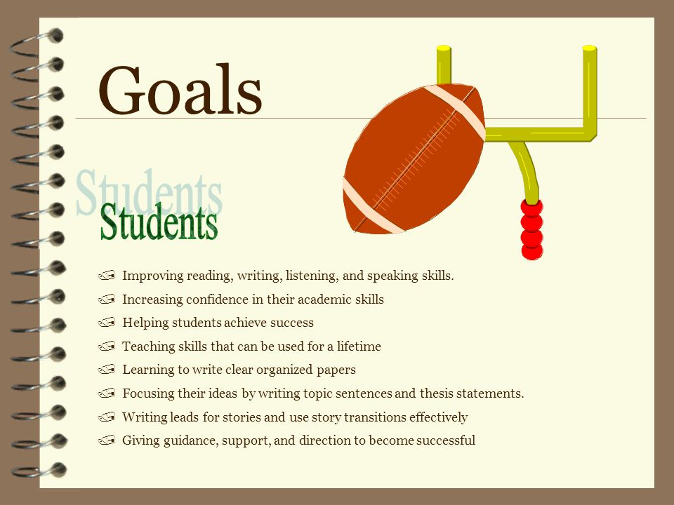 Goals / Improving reading, writing, listening, and speaking skills.
