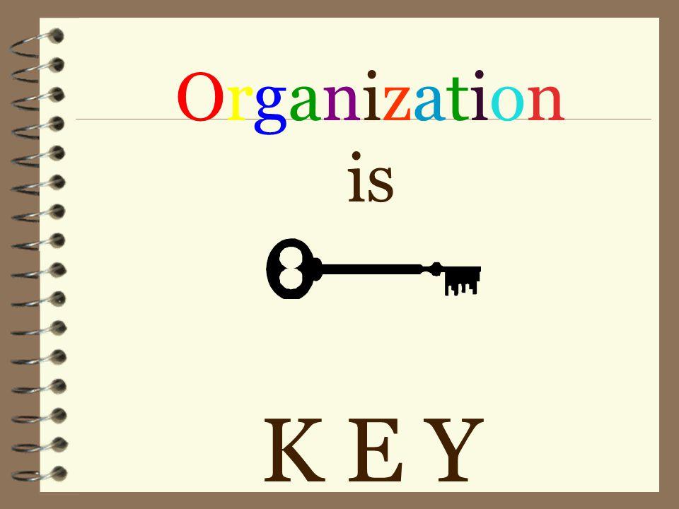 Organization is K E Y