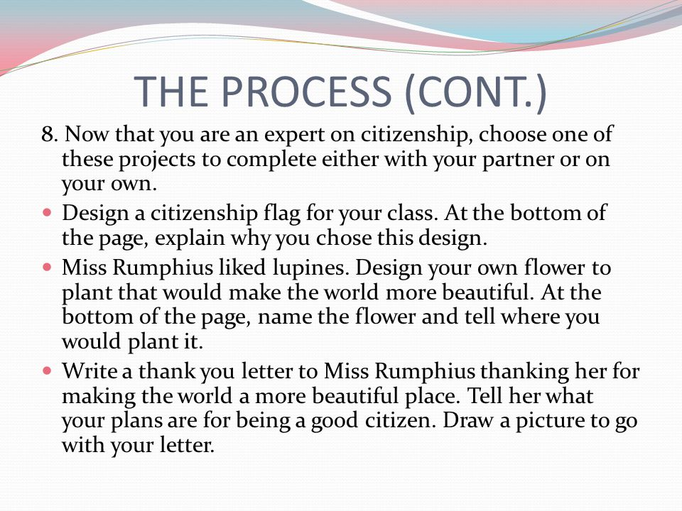 THE PROCESS (CONT.) 8. Now that you are an expert on citizenship, choose one of these projects to complete either with your partner or on your own. De