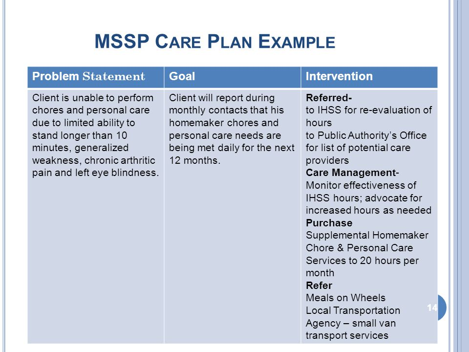 MSSP C ARE P LAN E XAMPLE Problem Statement GoalIntervention Client is unable to perform chores and personal care due to limited ability to stand longer than 10 minutes, generalized weakness, chronic arthritic pain and left eye blindness.