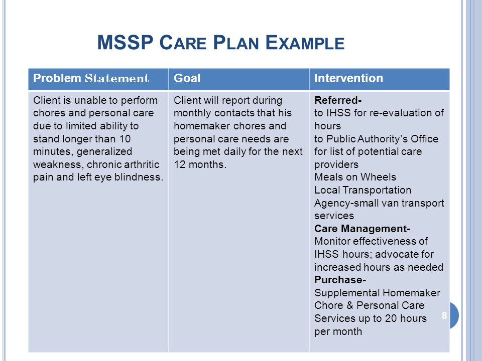 MSSP C ARE P LAN E XAMPLE Problem StatementGoalIntervention Client is at risk for unmonitored health conditions due to urinary incontinence; poor vision; Type 2 insulin dependent diabetes; generalized weakness; bouts of depression; and recent weight loss Client and family will report during monthly contacts having zero unmonitored health conditions for the next 12 months.