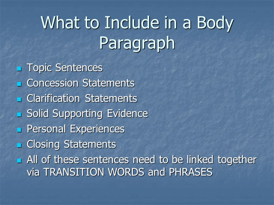 What to Include in a Body Paragraph Topic Sentences Topic Sentences Concession Statements Concession Statements Clarification Statements Clarification