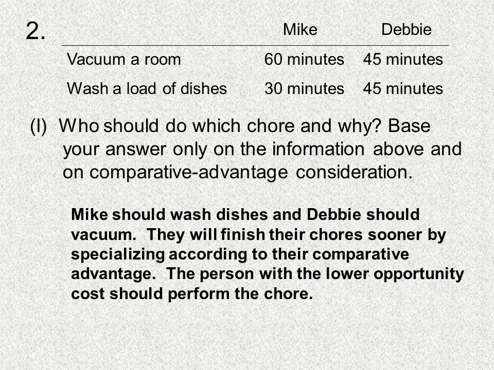 (I) Who should do which chore and why.