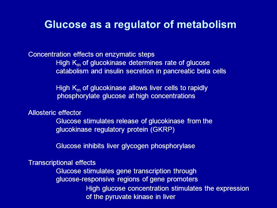 Glucose as a regulator of metabolism Concentration effects on enzymatic steps High K m of glucokinase determines rate of glucose catabolism and insulin secretion in pancreatic beta cells High K m of glucokinase allows liver cells to rapidly phosphorylate glucose at high concentrations Allosteric effector Glucose stimulates release of glucokinase from the glucokinase regulatory protein (GKRP) Glucose inhibits liver glycogen phosphorylase Transcriptional effects Glucose stimulates gene transcription through glucose-responsive regions of gene promoters High glucose concentration stimulates the expression of the pyruvate kinase in liver