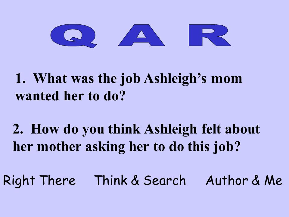 1. What was the job Ashleigh's mom wanted her to do? 2. How do you think Ashleigh felt about her mother asking her to do this job? Right There Think &