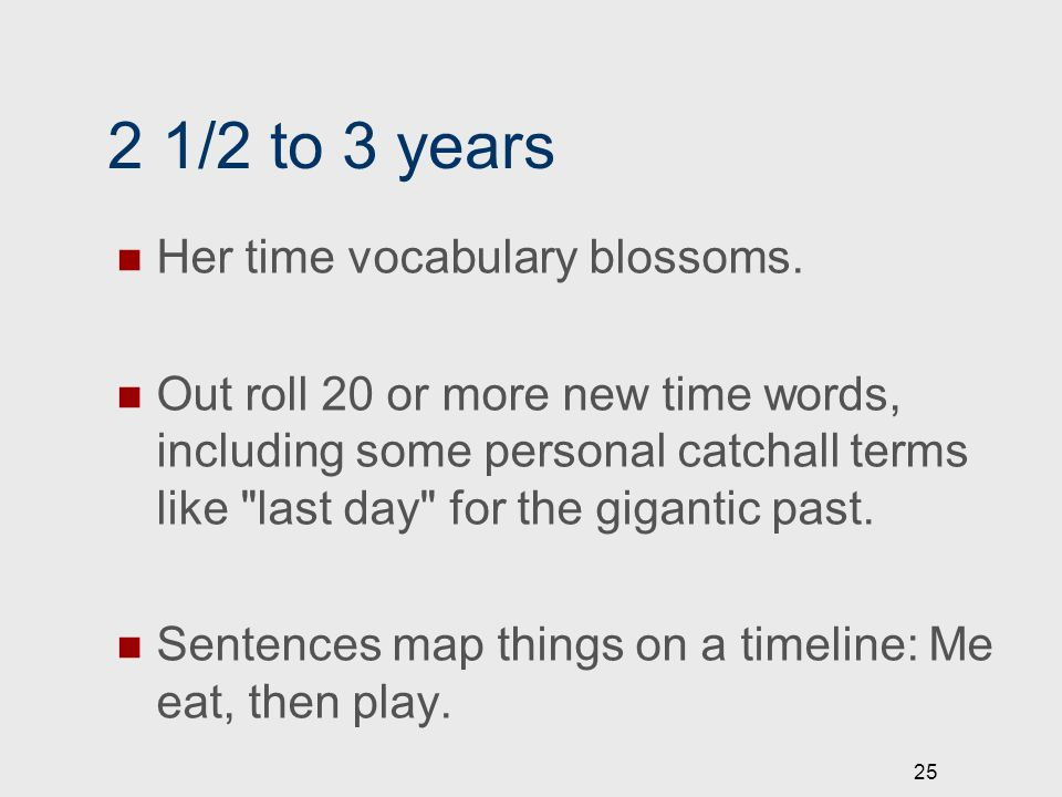 2 1/2 to 3 years Her time vocabulary blossoms. Out roll 20 or more new time words, including some personal catchall terms like