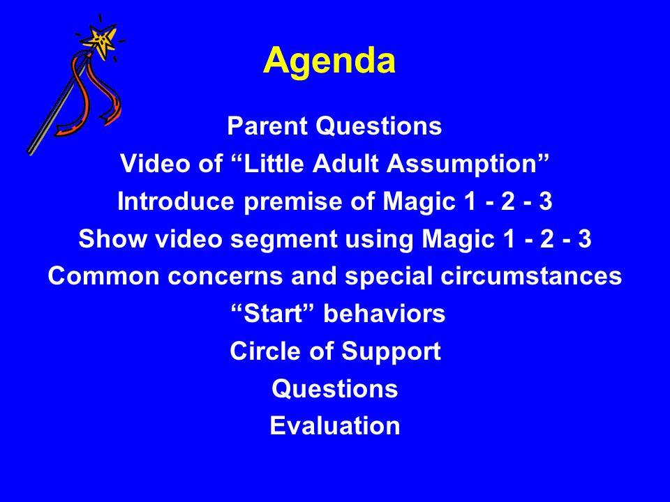 "Agenda Parent Questions Video of ""Little Adult Assumption"" Introduce premise of Magic 1 - 2 - 3 Show video segment using Magic 1 - 2 - 3 Common concer"