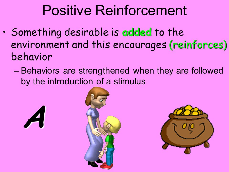 Positive Reinforcement added (reinforces)Something desirable is added to the environment and this encourages (reinforces) behavior –Behaviors are strengthened when they are followed by the introduction of a stimulus A