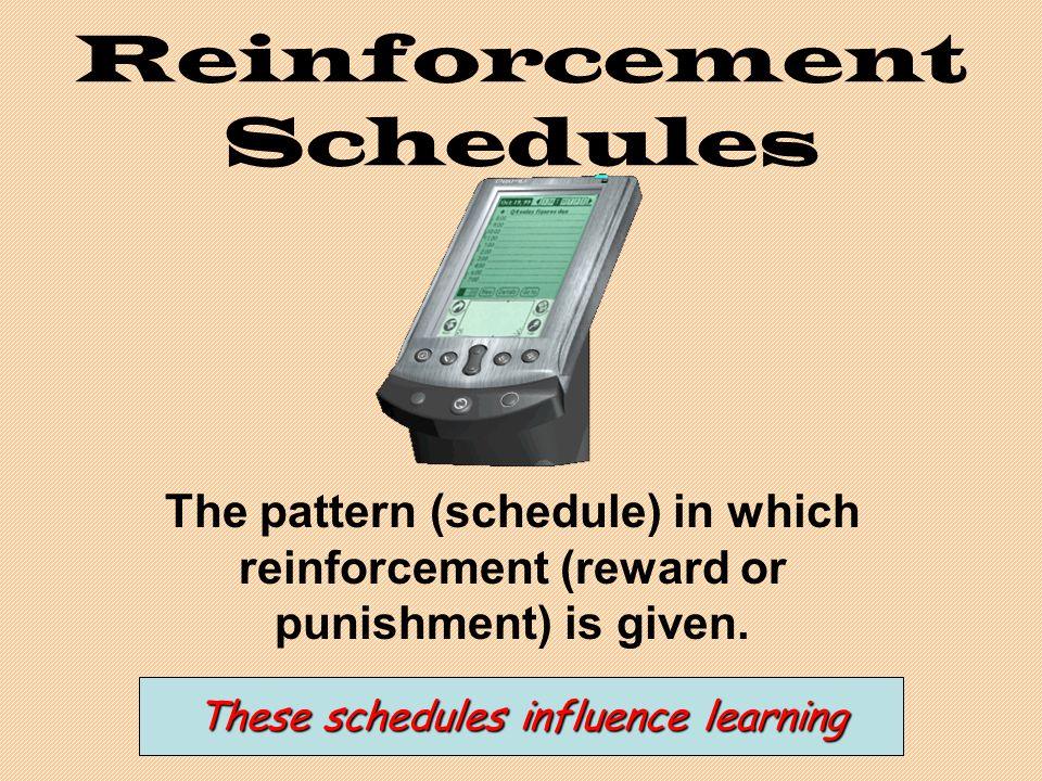 Reinforcement Schedules The pattern (schedule) in which reinforcement (reward or punishment) is given.