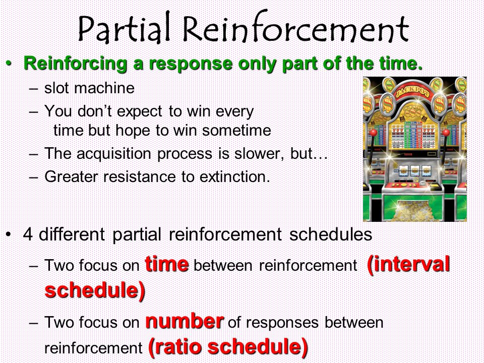 Partial Reinforcement Reinforcing a response only part of the time.Reinforcing a response only part of the time.