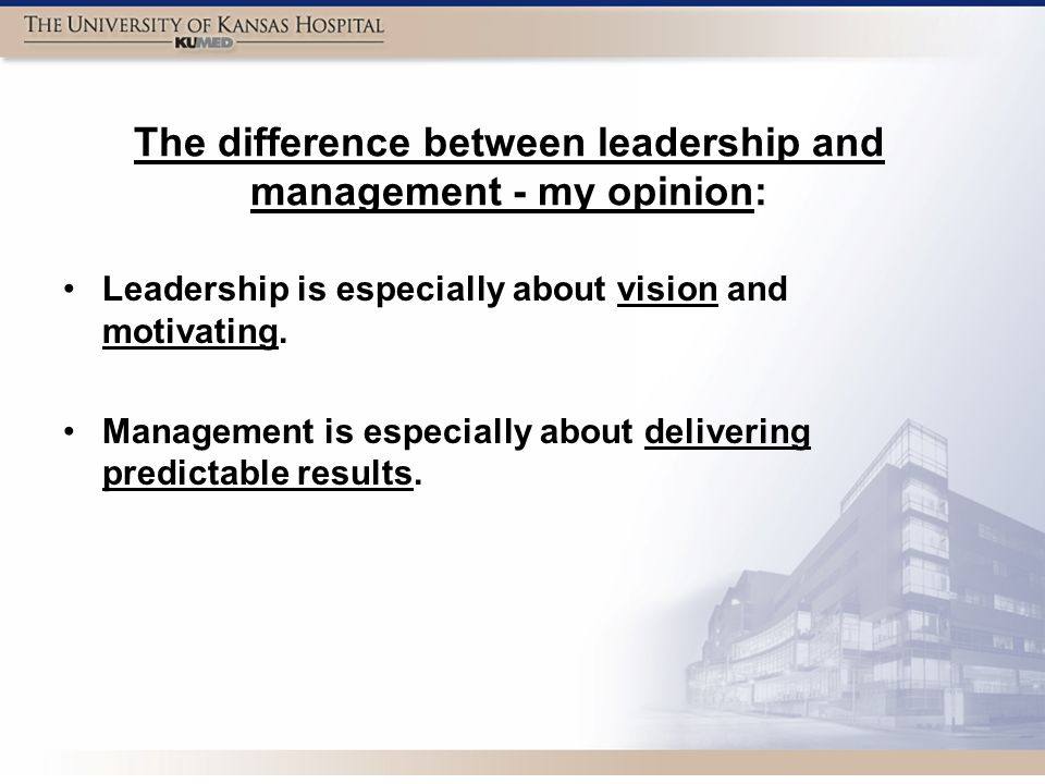 The difference between leadership and management - my opinion: Leadership is especially about vision and motivating.
