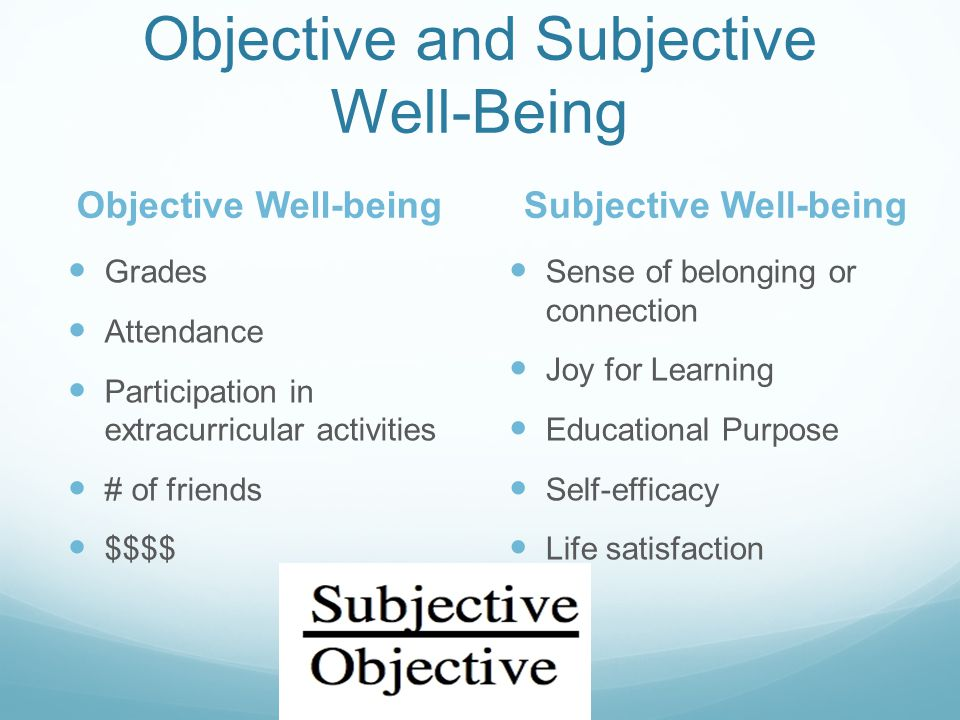 Objective and Subjective Well-Being Grades Attendance Participation in extracurricular activities # of friends $$$$ Sense of belonging or connection Joy for Learning Educational Purpose Self-efficacy Life satisfaction Objective Well-beingSubjective Well-being