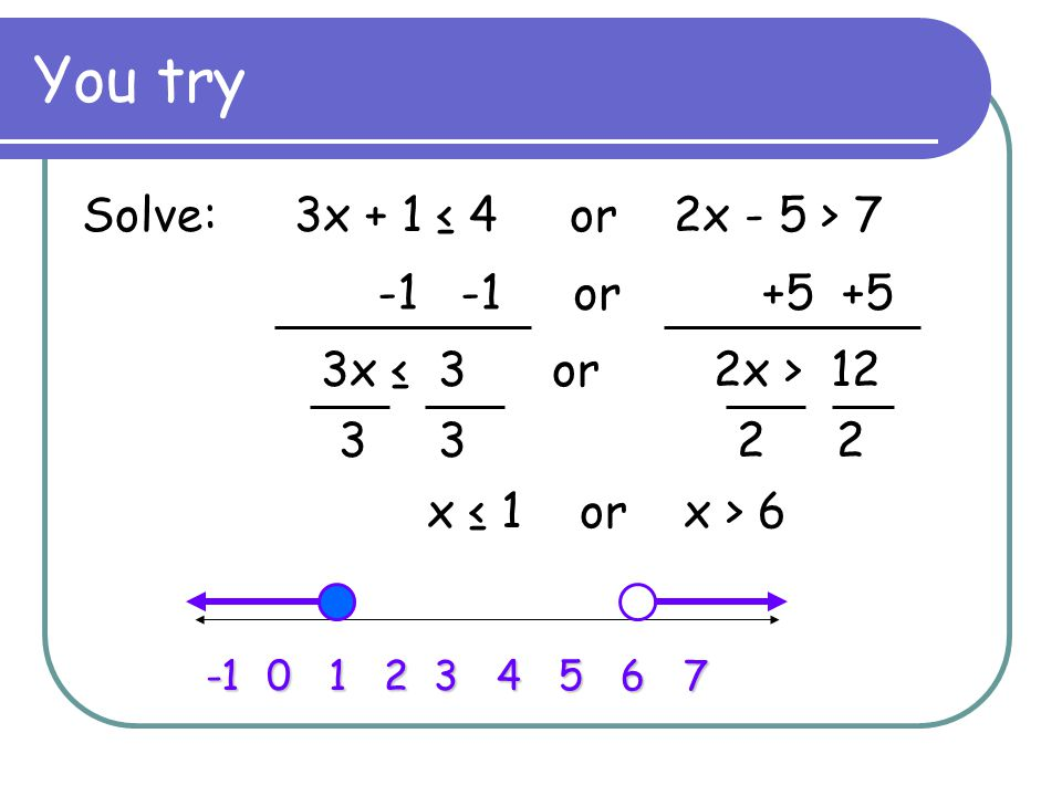 You try Solve:3x + 1 ≤ 4 or 2x - 5 > 7 -1 -1 or +5 +5 x ≤ 1 or x > 6 -1 0 1 2 3 4 5 6 7 3x ≤ 3 or 2x > 12 3 3 2 2