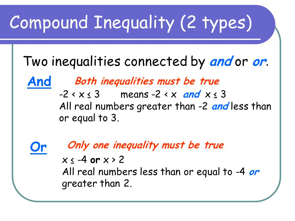 Compound Inequality (2 types) Two inequalities connected by and or or. And -2 < x ≤ 3 means -2 < x and x ≤ 3 All real numbers greater than -2 and less
