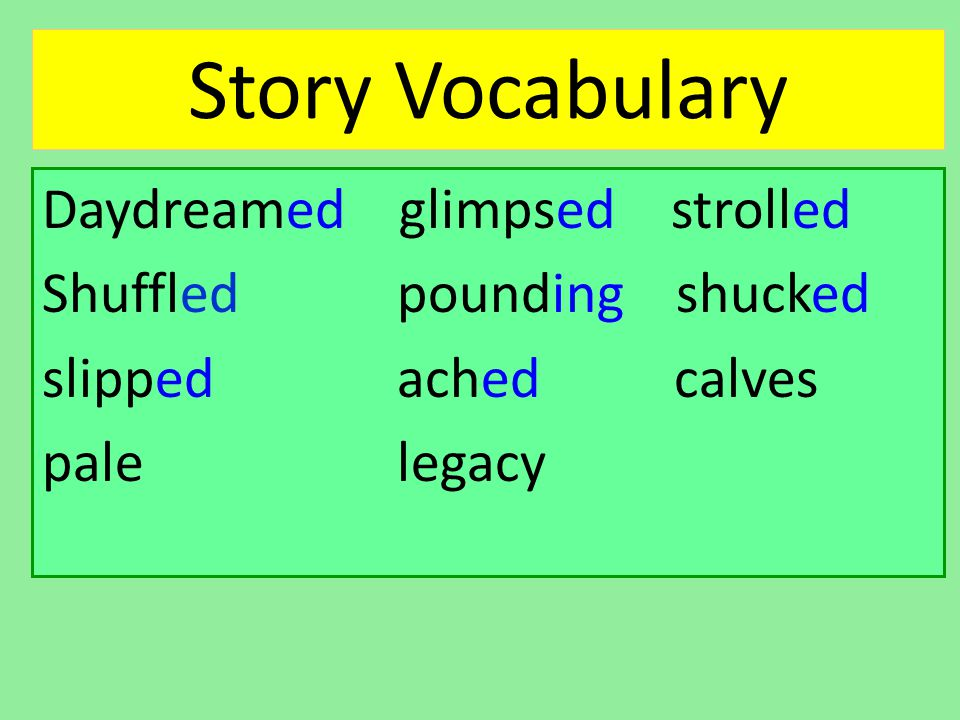 Story Vocabulary Daydreamed glimpsed strolled Shuffled pounding shucked slipped ached calves pale legacy