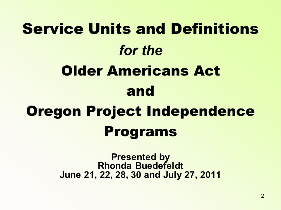 1 STATE UNIT ON AGING a division of STATE OF OREGON DEPARTMENT OF HUMAN SERVICES SENIORS & PEOPLE WITH DISABILITIES
