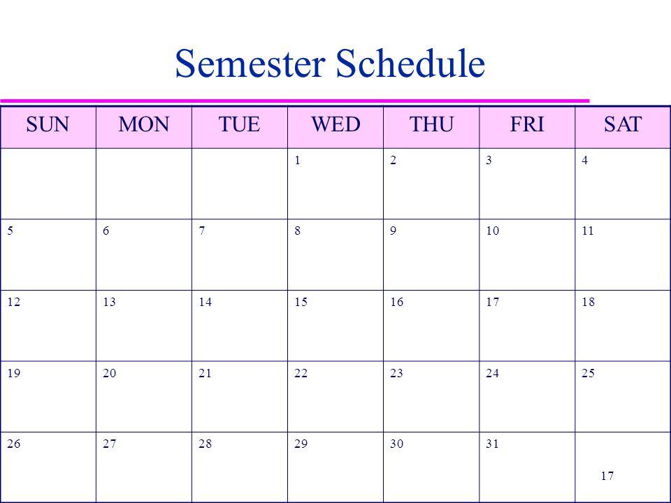Semester Schedule SUNMONTUEWEDTHUFRISAT 1234 567891011 12131415161718 19202122232425 262728293031 17