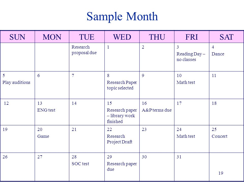 Sample Month SUNMONTUEWEDTHUFRISAT Research proposal due 123 Reading Day – no classes 4 Dance 5 Play auditions 678 Research Paper topic selected 910 Math test 11 1213 ENG test 1415 Research paper – library work finished 16 A&P terms due 1718 1920 Game 2122 Research Project Draft 2324 Math test 25 Concert 262728 SOC test 29 Research paper due 3031 19