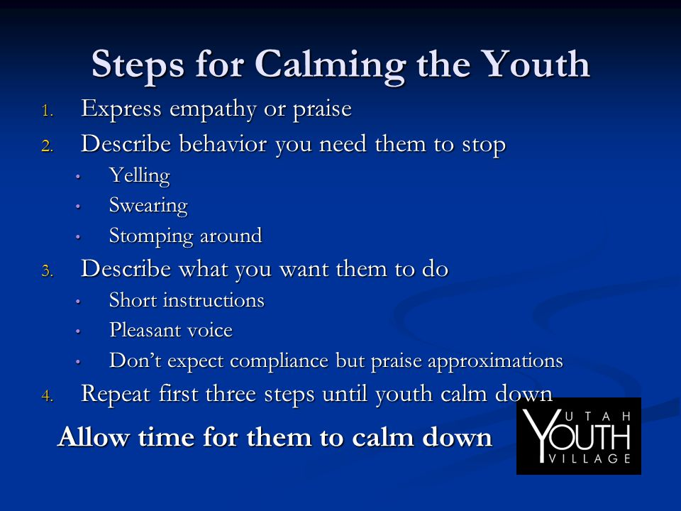Steps for Calming the Youth 1. Express empathy or praise 2. Describe behavior you need them to stop Yelling Yelling Swearing Swearing Stomping around