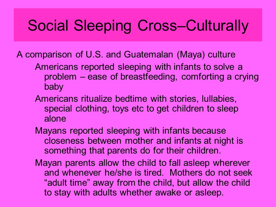 Social Sleeping Cross–Culturally A comparison of U.S.