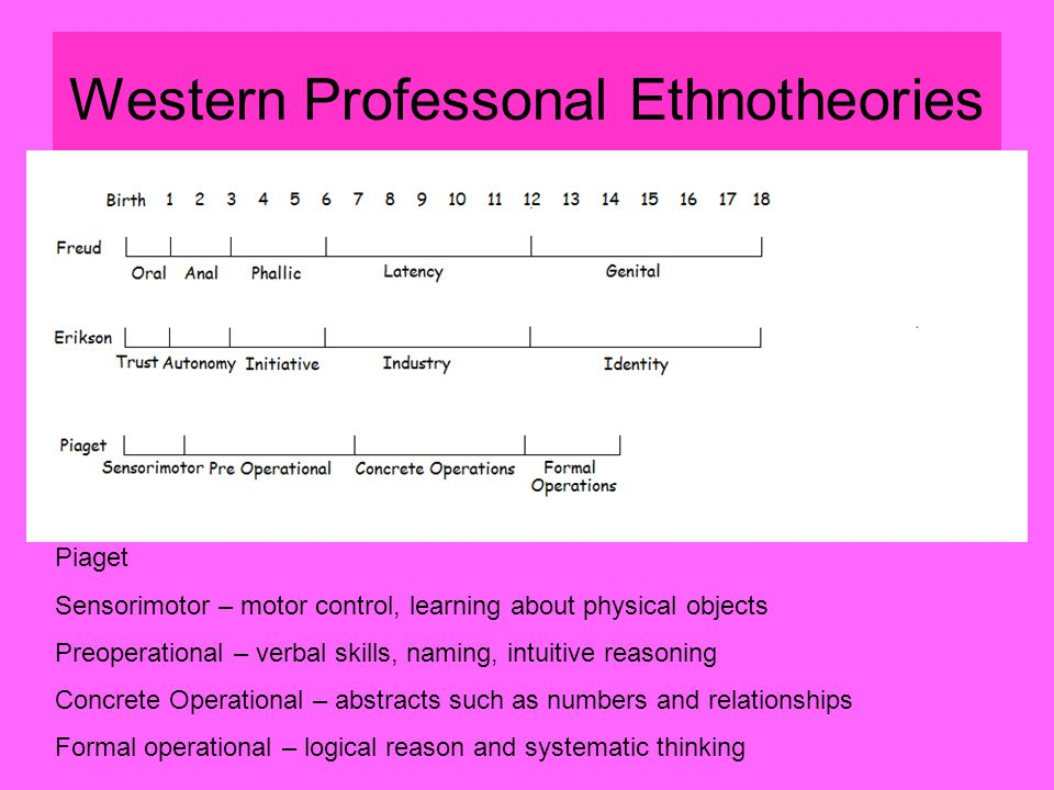 Western Professonal Ethnotheories Piaget Sensorimotor – motor control, learning about physical objects Preoperational – verbal skills, naming, intuitive reasoning Concrete Operational – abstracts such as numbers and relationships Formal operational – logical reason and systematic thinking