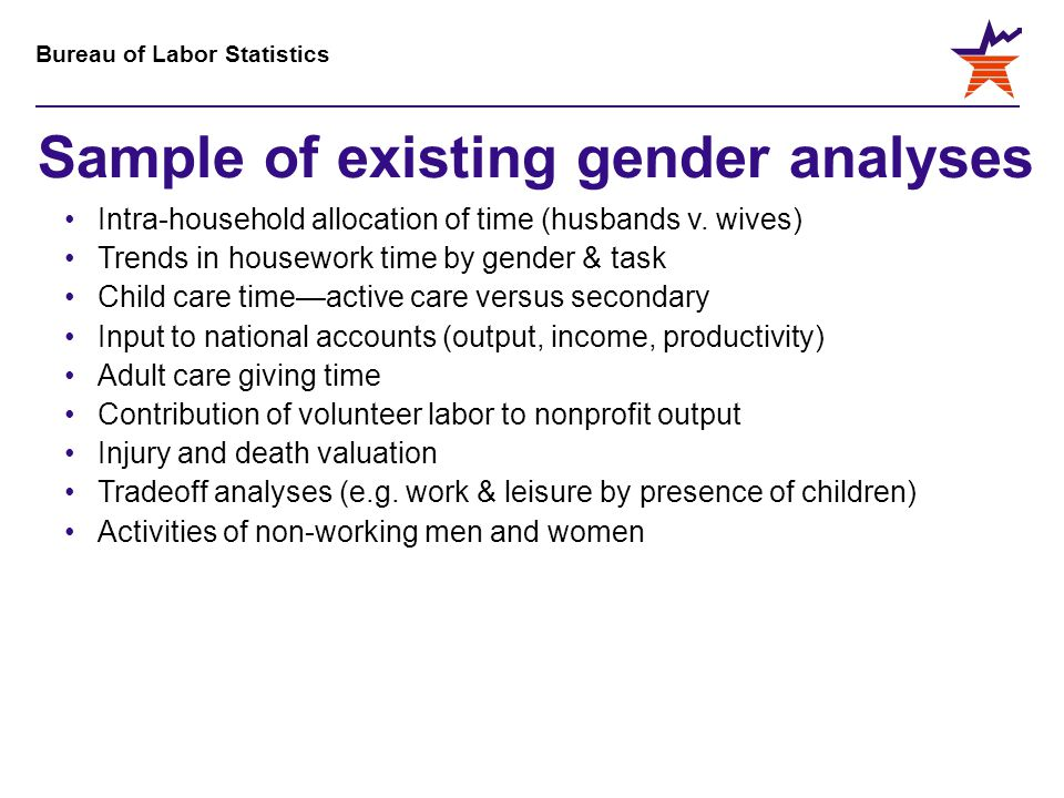 Bureau of Labor Statistics Sample of existing gender analyses Intra-household allocation of time (husbands v. wives) Trends in housework time by gende