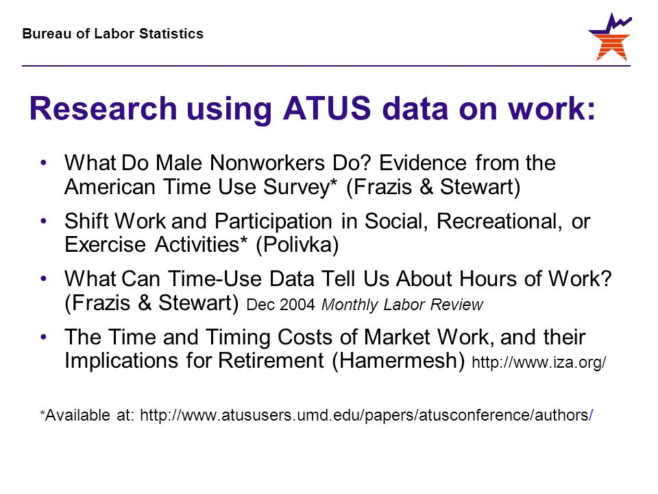 Bureau of Labor Statistics Research using ATUS data on work: What Do Male Nonworkers Do? Evidence from the American Time Use Survey* (Frazis & Stewart