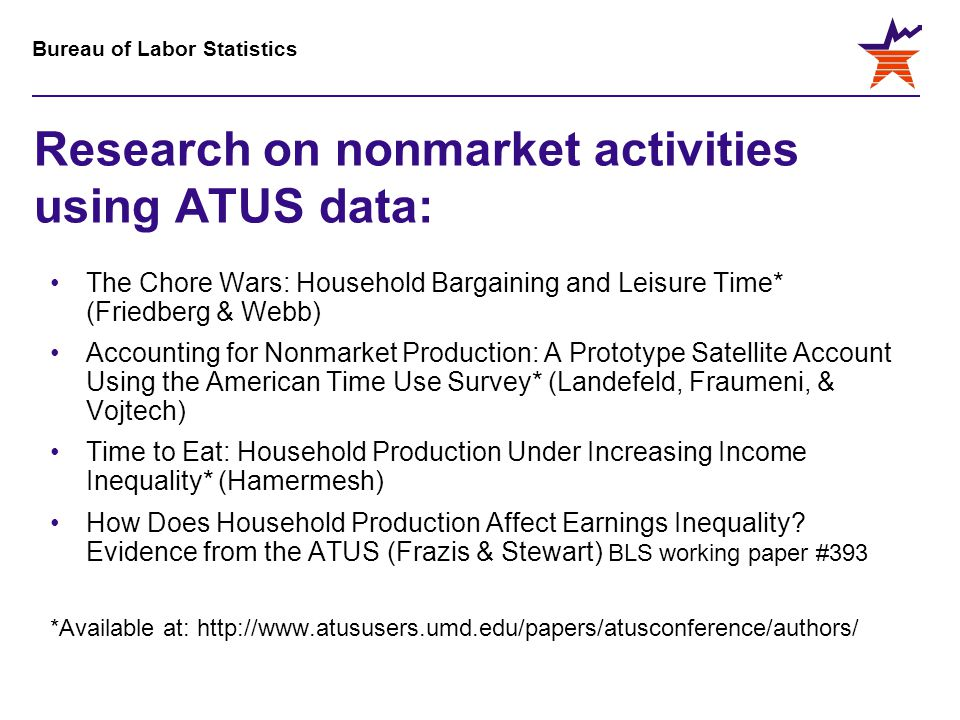 Bureau of Labor Statistics Research on nonmarket activities using ATUS data: The Chore Wars: Household Bargaining and Leisure Time* (Friedberg & Webb) Accounting for Nonmarket Production: A Prototype Satellite Account Using the American Time Use Survey* (Landefeld, Fraumeni, & Vojtech) Time to Eat: Household Production Under Increasing Income Inequality* (Hamermesh) How Does Household Production Affect Earnings Inequality.