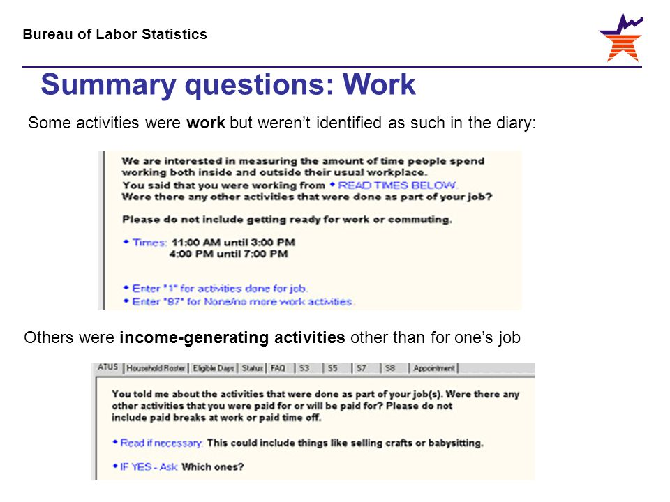Bureau of Labor Statistics Summary questions: Work Some activities were work but weren't identified as such in the diary: Others were income-generating activities other than for one's job